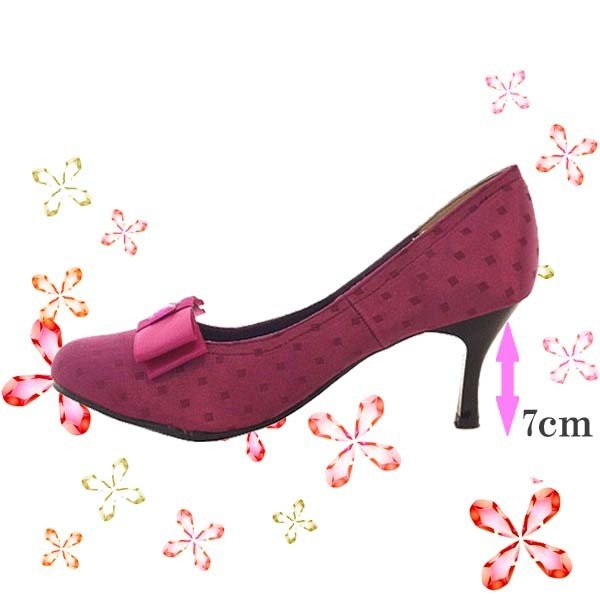 激安 靴 レディース  スクエアドットリボンパンプス 24.0cm(4E) ピンク ACQUA CALDA  サイズ違いあり