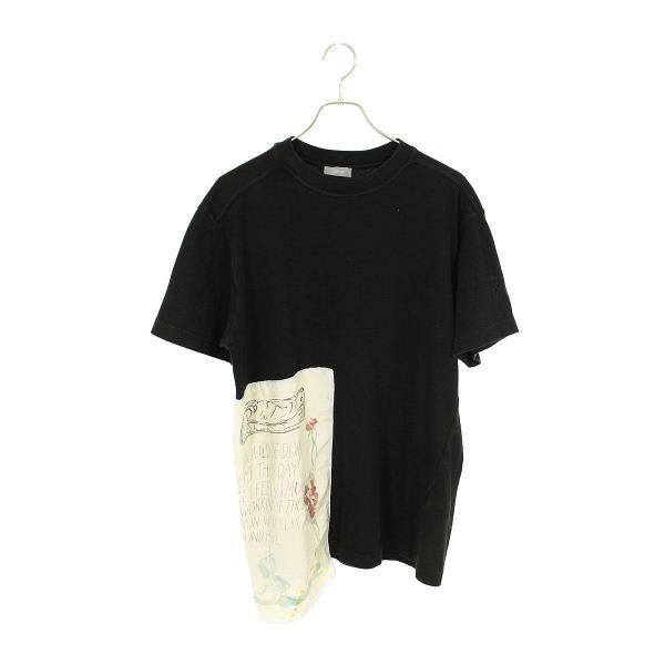 ディオール DIOR 19AW 943J609G0554 グラフィティパッチTシャツ M ブラック 【SB01】【702191】【中古】