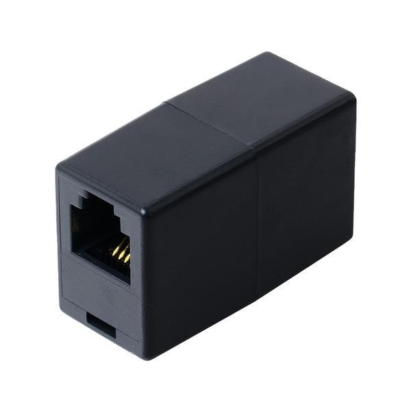 ミヨシ 6極4芯対応電話機コード延長アダプタ ブラック5個セット DA-40/BK-5P