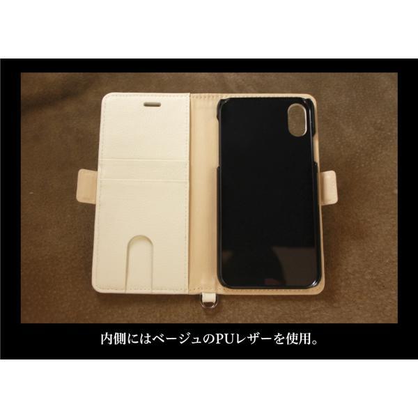 iPhone XS / X ケース 手帳型 北欧 おしゃれ ファブリック×レザー / ジオメトリック柄 / グレー|rinzo|12