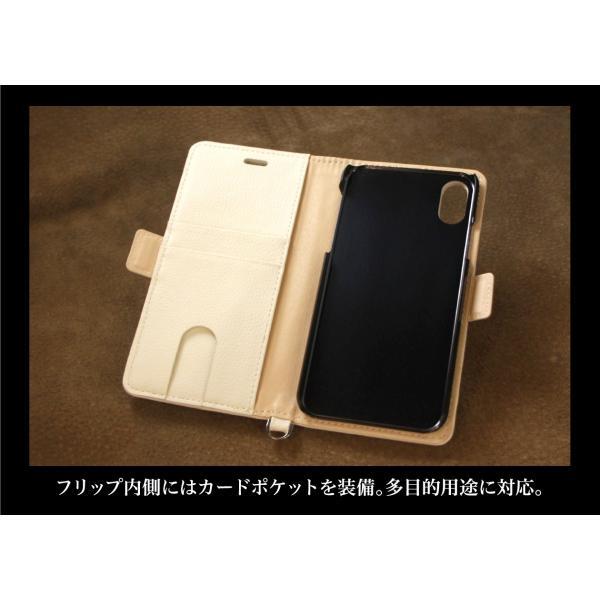 iPhone XS / X ケース 手帳型 北欧 おしゃれ ファブリック×レザー / ジオメトリック柄 / グレー|rinzo|04