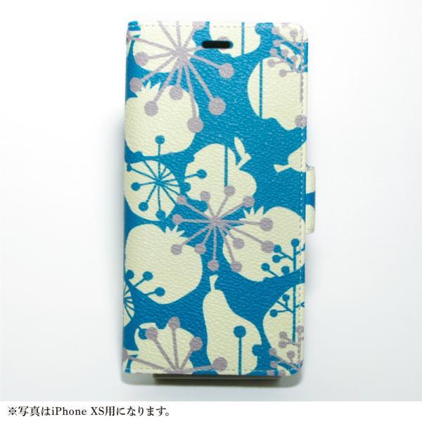 スマホケース 手帳型 北欧 iPhone XS / X / 8 / 7 / 8Plus / 7Plus マルチ対応 アンドロイド おしゃれ / フルーツ シルエット:ブルー|rinzo|11