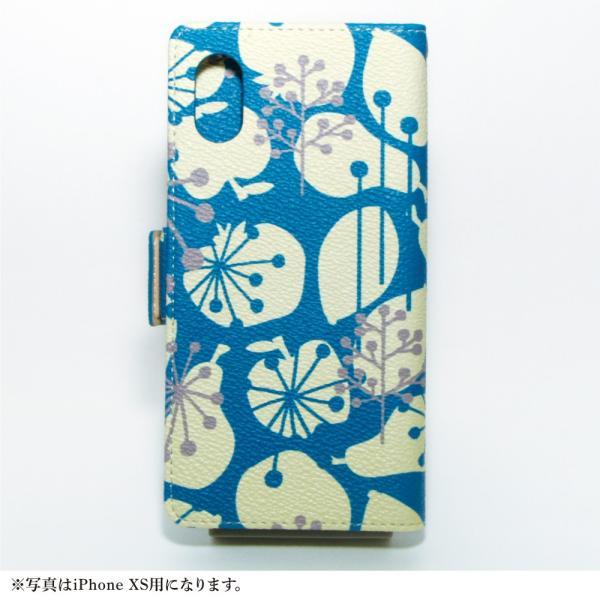 スマホケース 手帳型 北欧 iPhone XS / X / 8 / 7 / 8Plus / 7Plus マルチ対応 アンドロイド おしゃれ / フルーツ シルエット:ブルー|rinzo|12