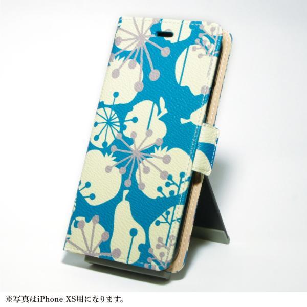 スマホケース 手帳型 北欧 iPhone XS / X / 8 / 7 / 8Plus / 7Plus マルチ対応 アンドロイド おしゃれ / フルーツ シルエット:ブルー|rinzo|10