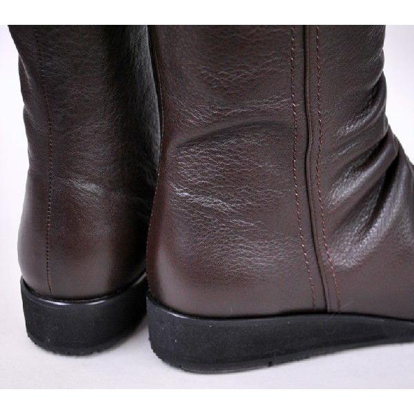 送料無料セール日本製滑りにくいブーツスパイクミドル丈 レディース くしゅくしゅ本革ブーツ ダークブラウン