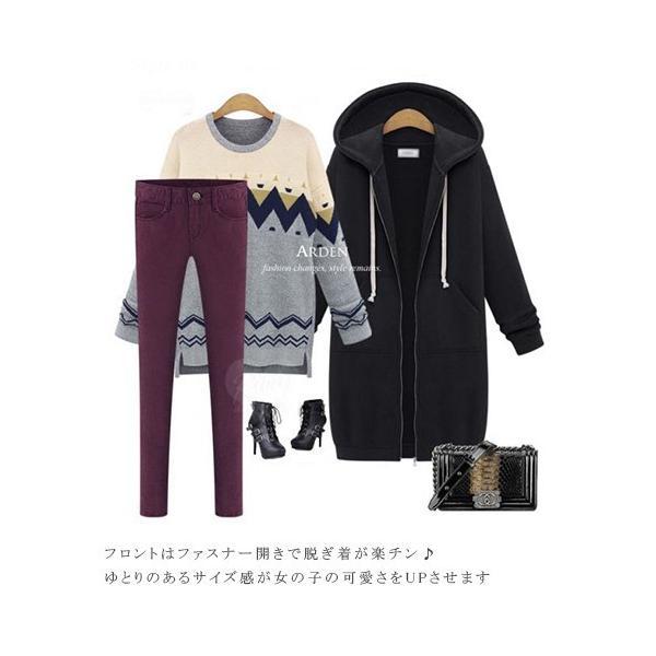 ロングパーカー レディース 冬 ゆったり 体型カバー ブラック ロング丈|rioty|03