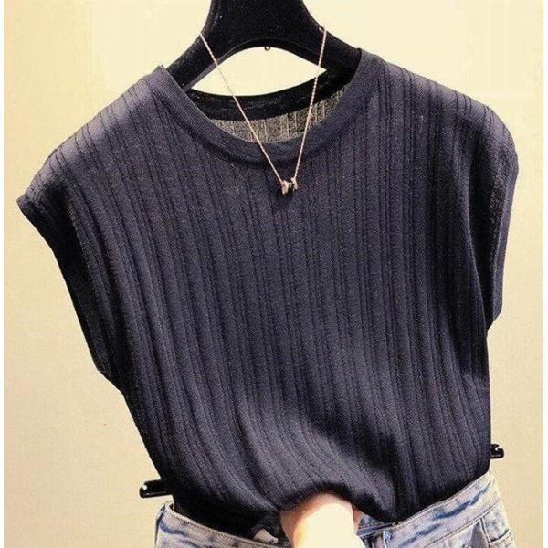 tシャツ ニットセーター サマーニット レディース フレンチ袖風 リブニットソートップス カットソー クルーニット 薄地 コットン 伸縮性   一部即納 rioty 15