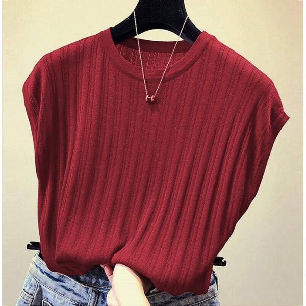 tシャツ ニットセーター サマーニット レディース フレンチ袖風 リブニットソートップス カットソー クルーニット 薄地 コットン 伸縮性   一部即納 rioty 16