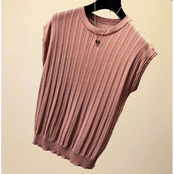 tシャツ ニットセーター サマーニット レディース フレンチ袖風 リブニットソートップス カットソー クルーニット 薄地 コットン 伸縮性   一部即納 rioty 18