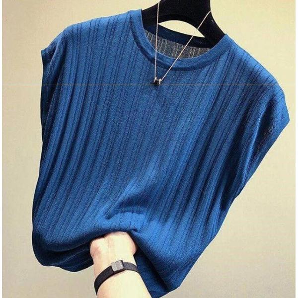 tシャツ ニットセーター サマーニット レディース フレンチ袖風 リブニットソートップス カットソー クルーニット 薄地 コットン 伸縮性   一部即納 rioty 19