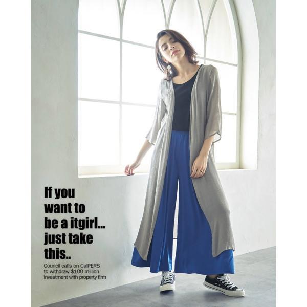 UVカット 麻風 体型カバー オープンタイプ ロングカーディガン ロング丈 羽織物 大人コーデ rioty 03