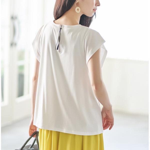 AラインTシャツ フレンチ袖 カットソー 半袖 フレア トップス 紐付 ブラウス シンプル ゆったり|rioty|03