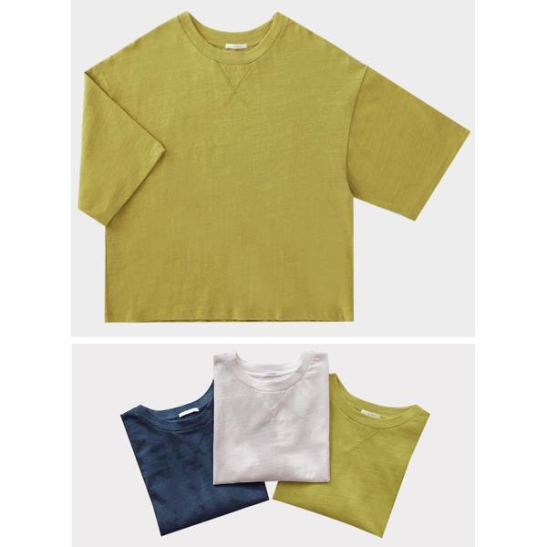 ビッグTシャツ レディース 5分袖 V刺 コットン クルーネック トップス カットソー カジュアル 一部即納|rioty|13