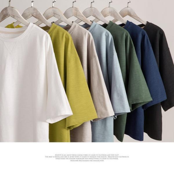 ビッグTシャツ レディース 5分袖 V刺 コットン クルーネック トップス カットソー カジュアル 一部即納|rioty|14