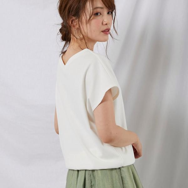Tシャツ  カットソー 白 シャツ レディース おしゃれ オフィス  一部即納|rioty|07