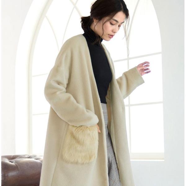 ファーポケットコート 微起毛 ロングコート ベーシックカラー 短毛生地 アウター ジャケット|rioty|11