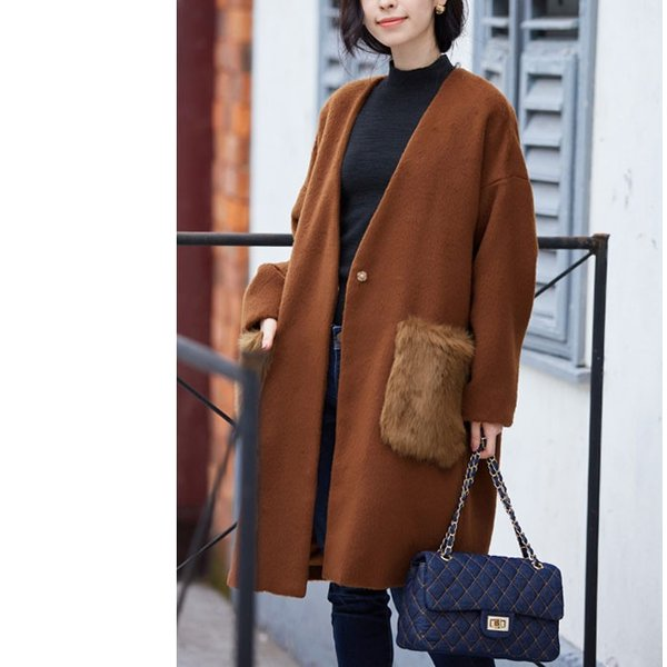 ファーポケットコート 微起毛 ロングコート ベーシックカラー 短毛生地 アウター ジャケット|rioty|12