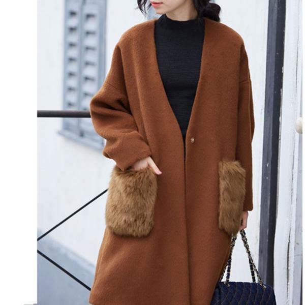 ファーポケットコート 微起毛 ロングコート ベーシックカラー 短毛生地 アウター ジャケット|rioty|13