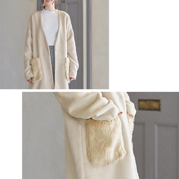 ファーポケットコート 微起毛 ロングコート ベーシックカラー 短毛生地 アウター ジャケット|rioty|15