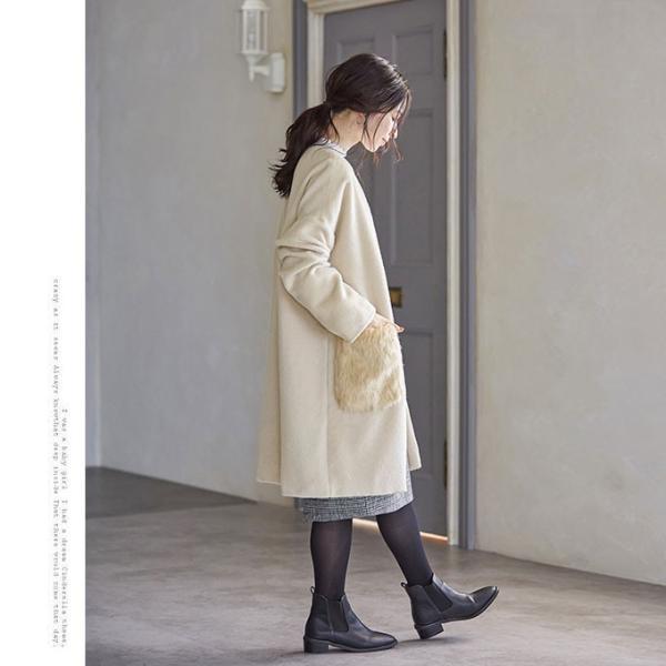 ファーポケットコート 微起毛 ロングコート ベーシックカラー 短毛生地 アウター ジャケット|rioty|16