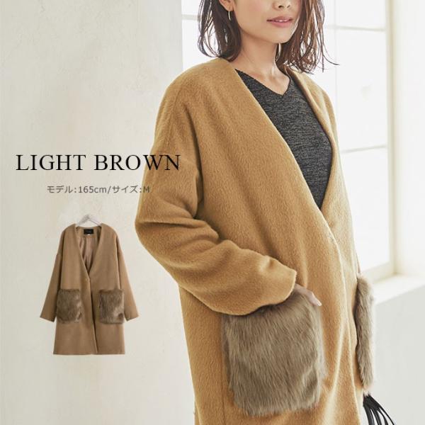 ファーポケットコート 微起毛 ロングコート ベーシックカラー 短毛生地 アウター ジャケット|rioty|08