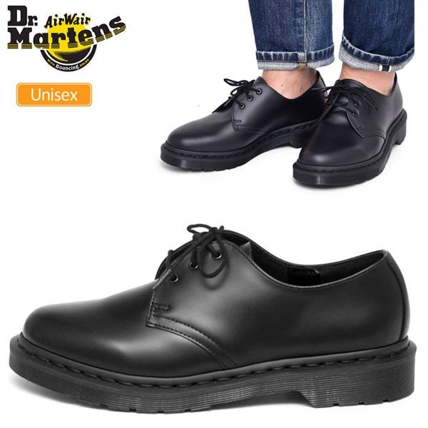 DR MARTENS MONO 1461 BOOTS 14345001 BLACK SMOOTH