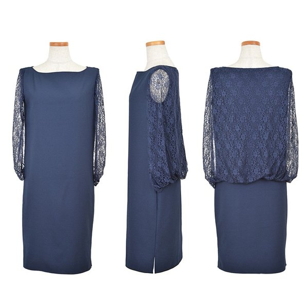 パーティードレス 結婚式 ドレス ワンピース 大きいサイズ パーティドレス 二次会 袖あり ケープ ミディアム 膝丈 20代 30代 40代 レース 体型カバー|rippleplus-shop|09