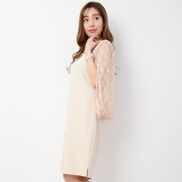 パーティードレス 結婚式 ドレス ワンピース 大きいサイズ パーティドレス 二次会 袖あり ケープ ミディアム 膝丈 20代 30代 40代 レース 体型カバー|rippleplus-shop|10