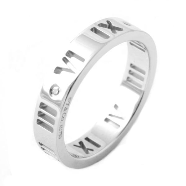 ティファニー アトラス ダイヤモンド リング 指輪 0.01ct 18KWG 16in レディース ギフト プレゼント 誕生日 アクセサリー