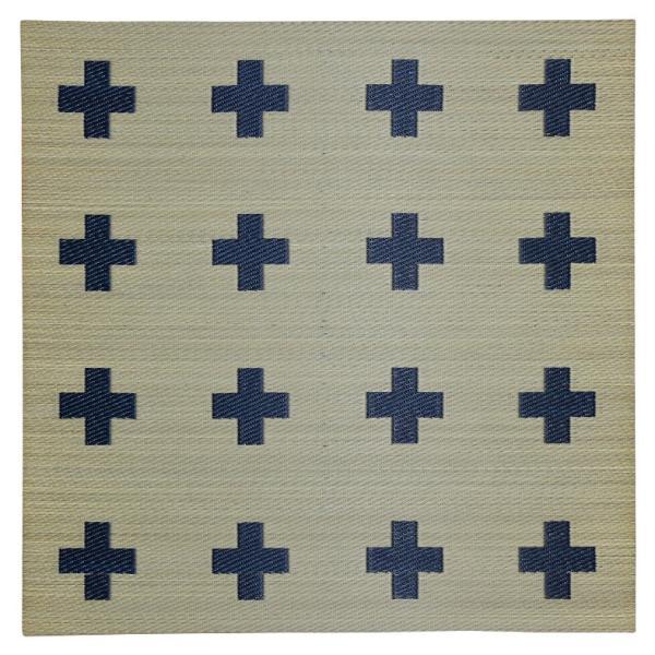 【2枚セット】置き畳 い草 ユニット畳 フロア畳  琉球畳  縁なし畳【純国産】 COMBOシリーズ クロス ネイビー/グレー  約82×82×1.8cm 半畳  日本製|rirakusa|17