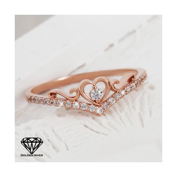 プリンセス ティアラ ハート 重ね着けリング 指輪 K14 14金ピンクゴールド|risacrystal