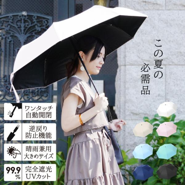 折りたたみ傘日傘自動開閉完全遮光晴雨兼用軽量ワンタッチ折り畳み傘メンズレディースおしゃれuvカット旅行用