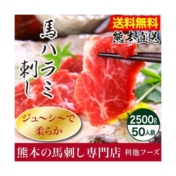 馬刺し 熊本 国産 馬ハラミ刺し 2500g 約50g×50 約50人前 馬肉 ギフト 食べ物 おつまみ