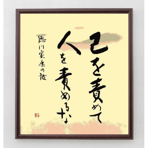 徳川家康の名言色紙『己を責めて、人を責めるな』額付き rittermind