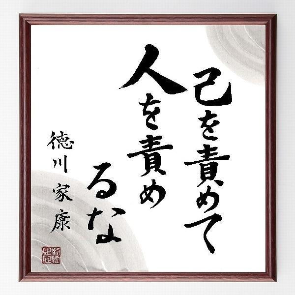 徳川家康の名言色紙『己を責めて、人を責めるな』額付き/直筆済み|rittermind