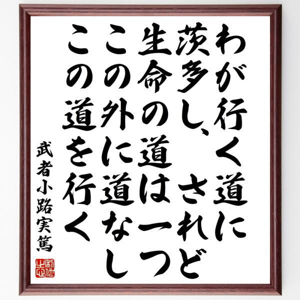 武者小路実篤の名言色紙『わが行く道に茨多し、されど生命の道は一つ、この外に道なし、この道を行く』額付き/受注後直筆|rittermind