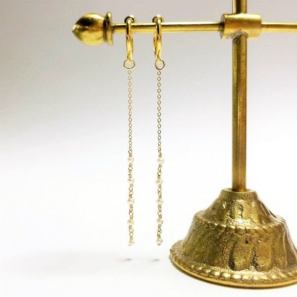 淡水ケシパール イヤリング 淡水真珠 本真珠 ロングイヤリング K14GF仕上げ