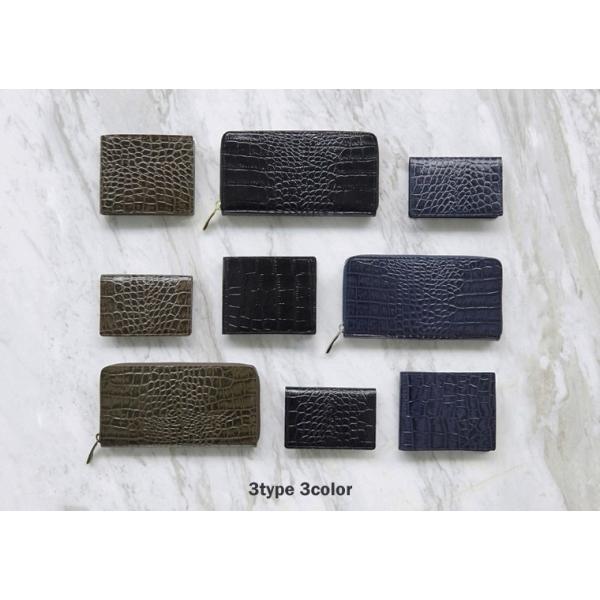 リンレ RINRE 財布 クロコ型押しレザー 革 極薄 折財布 二つ折り 国産 3001 メンズ|riverall-men|06