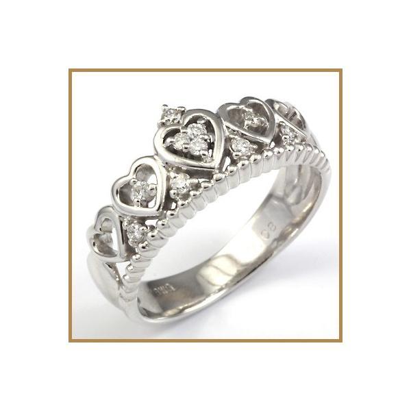 リング 指輪 レディース 18金 K18WG ダイヤモンド D0.08 ハート ティアラ 女性 かわいい オシャレ 中古 ring 価格見直し