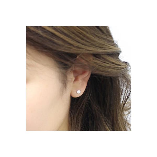 ピアス レディース 18金 4mm キュービックジルコニア K18 スタッド 両耳 ゆうパケット発送 新品 女性 かわいい オシャレ|rk-y|02