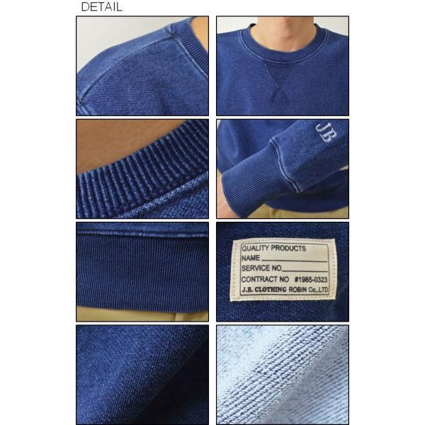 (デニムスウェット-タグ)JEANSBUG オリジナルタグ&刺繍 インディゴ染め クルーネック デニムスウェットシャツ トレーナー メンズ 大きいサイズ DNSW-TGEM|robinjeansbug|03