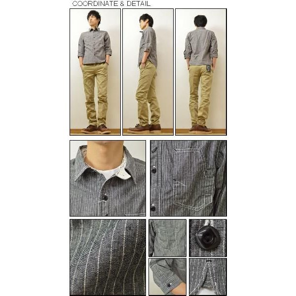 AUTHENTIC&COMPANY(オーセンティックアンドカンパニー) ストライプ シャンブレー素材 7分袖 ワークシャツ シャンブレーシャツ ストライプシャツ 33-S404|robinjeansbug|02