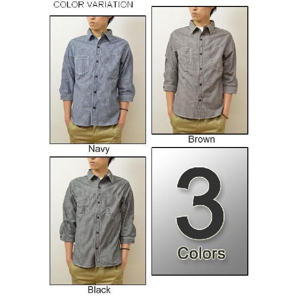 AUTHENTIC&COMPANY(オーセンティックアンドカンパニー) ストライプ シャンブレー素材 7分袖 ワークシャツ シャンブレーシャツ ストライプシャツ 33-S404|robinjeansbug|03
