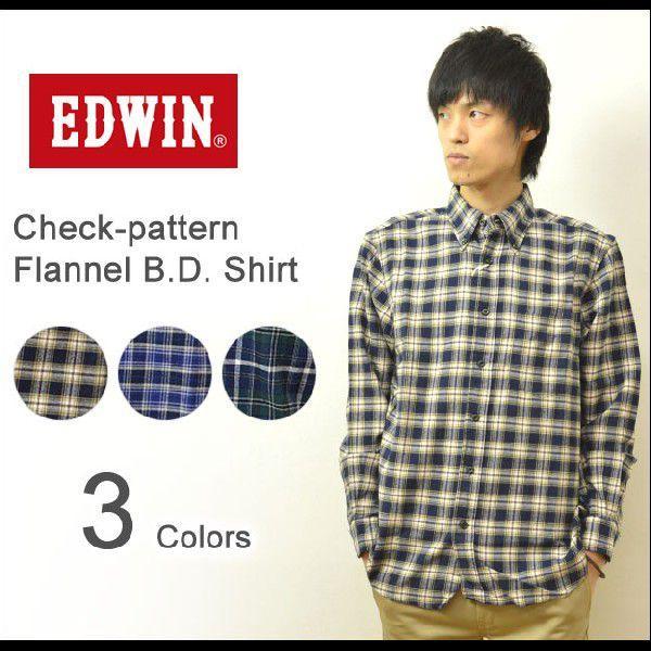 EDWIN(エドウィン) チェック柄 フランネル BDシャツ 大人のふだん着 ボタンダウン ネルシャツ チェックシャツ 起毛生地 47823|robinjeansbug