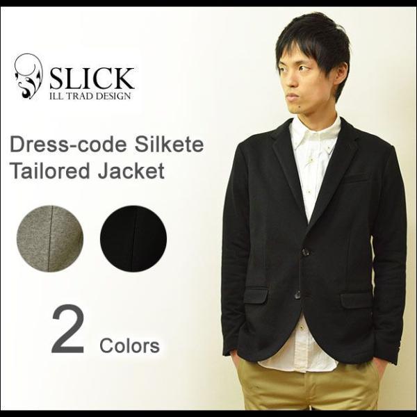 Slick(スリック) ドレスコード シルケット テーラードジャケット メンズ キレイめジャケット カジュアルジャケット 2B 裏毛 シルク タイト 細身 5168719|robinjeansbug