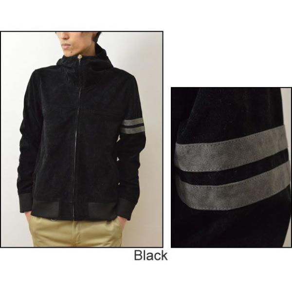 Revo.(レヴォ) フェイク スウェード フード ジップジャケット メンズ ブルゾン ジャケット アウター パーカー スエードレザー 袖ライン 腕章 レボ TH-1846|robinjeansbug|05