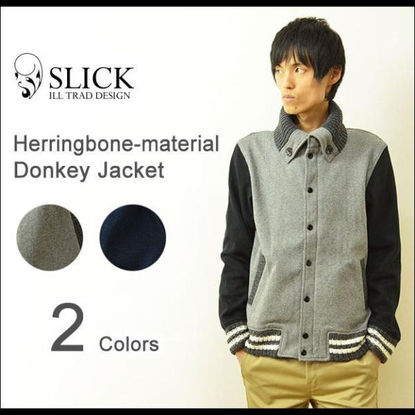 Slick(スリック) ヘリンボーン ジャガード ドンキージャケット メンズ スタジャン ブルゾン アウター 5169703|robinjeansbug
