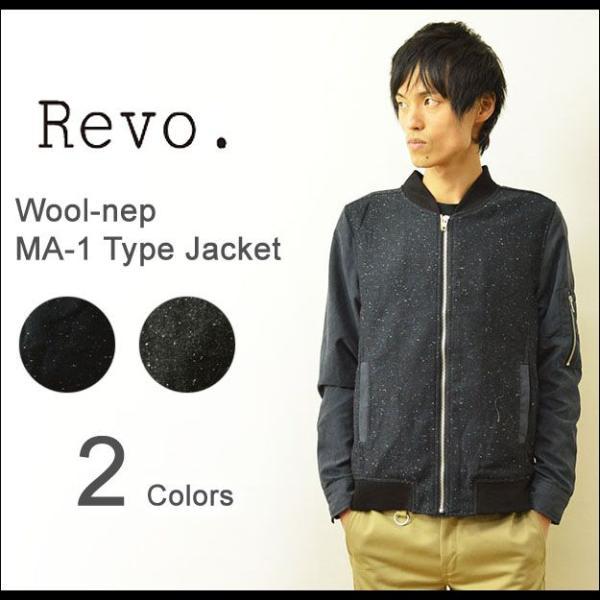 Revo.(レヴォ) ウールネップ MA-1 ジャケット メンズ ブルゾン タイト 細身 ミリタリー ライトアウター レボ TH-1839|robinjeansbug