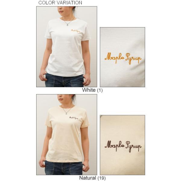 レディース Maple Syrup オリジナル 刺繍 半袖 Tシャツ メイプル シロップ クルーネック 厚手 無地 カットソー 透けない シンプル 白 黒 ベージュ LST-MAPLE|robinjeansbug|04