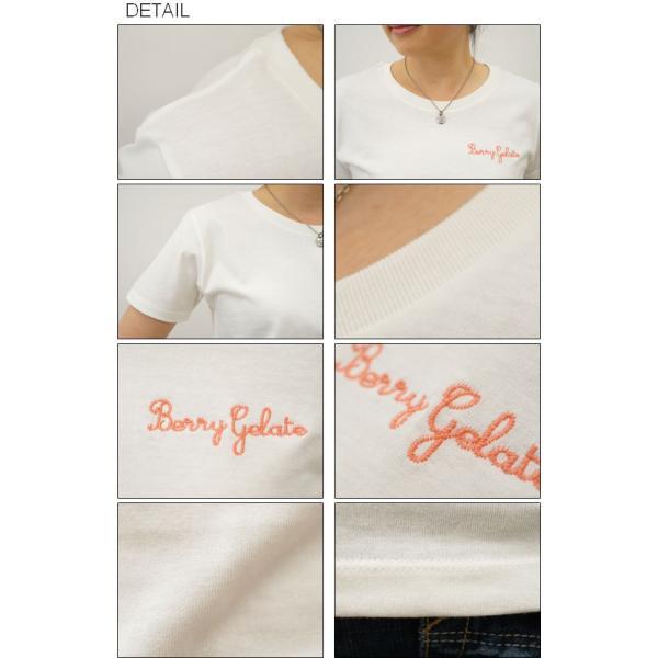 レディース Berry Gelate オリジナル 刺繍 半袖 Tシャツ ベリー ジェラート クルーネック 厚手 無地 カットソー 透けない シンプル 白 黒 LST-BERRY|robinjeansbug|03